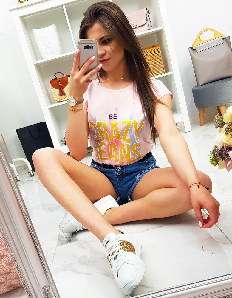 T-shirt damski CRAZY JEANS z nadrukiem pudrowy róż (ry0949)