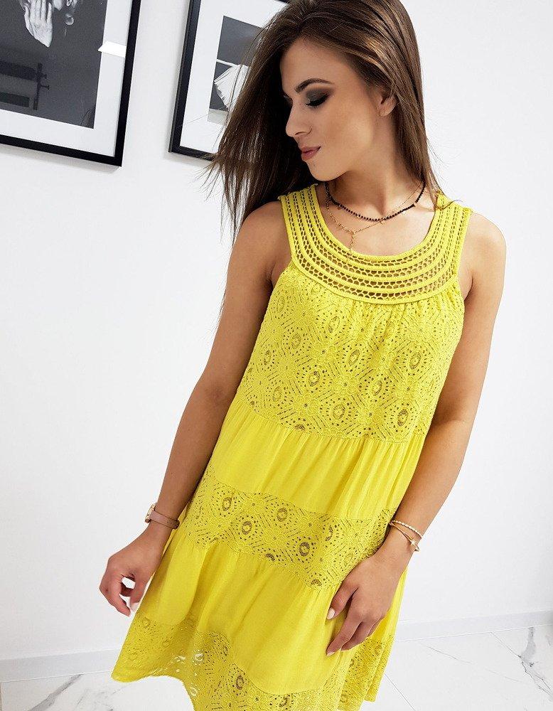Šaty bez ramienok žlté