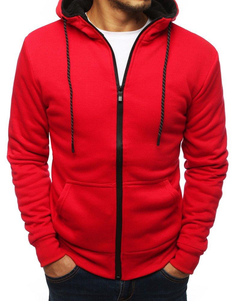 Bluza męska rozpinana z kapturem czerwona BX4124