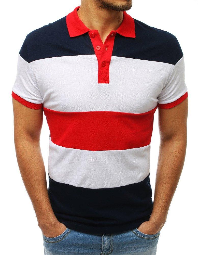 Koszulka polo męska granatowo-czerwona PX0167