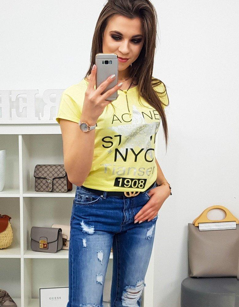 T-shirt damski STAR z nadrukiem cytrynowy Dstreet RY0870