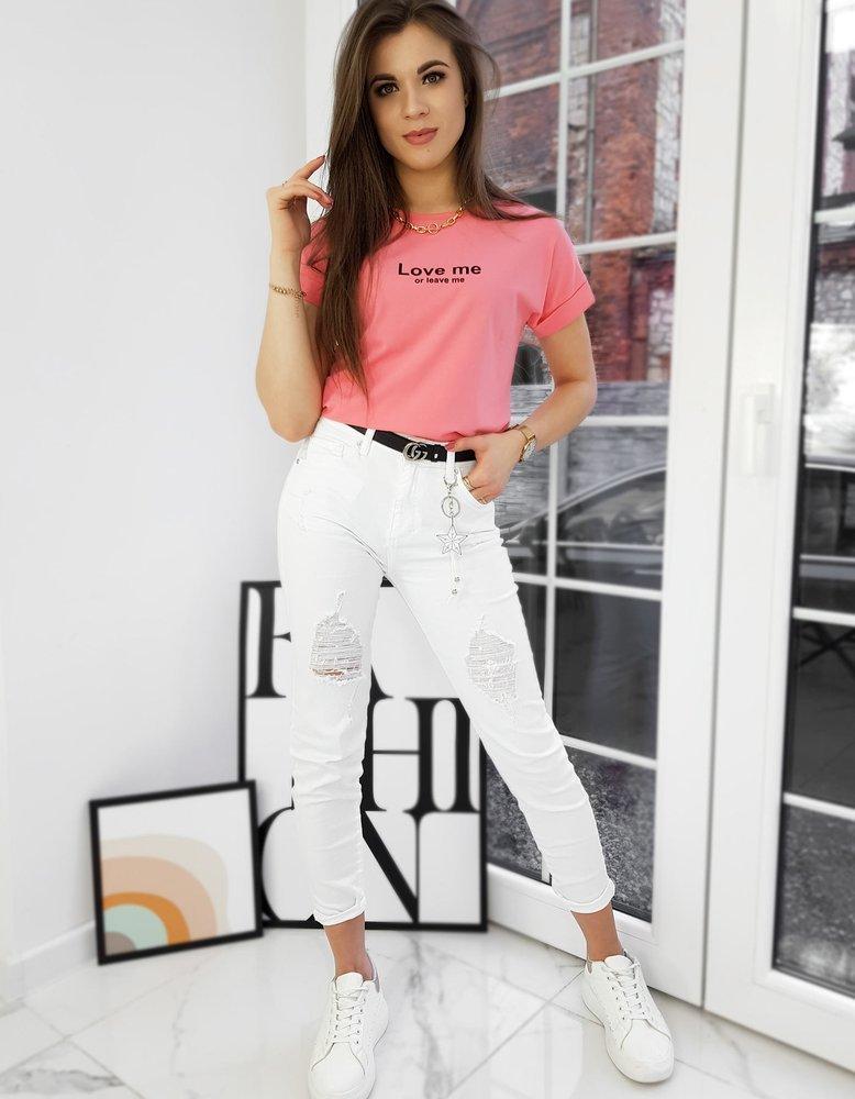 T-shirt damski LOVE ME koralowy RY1583