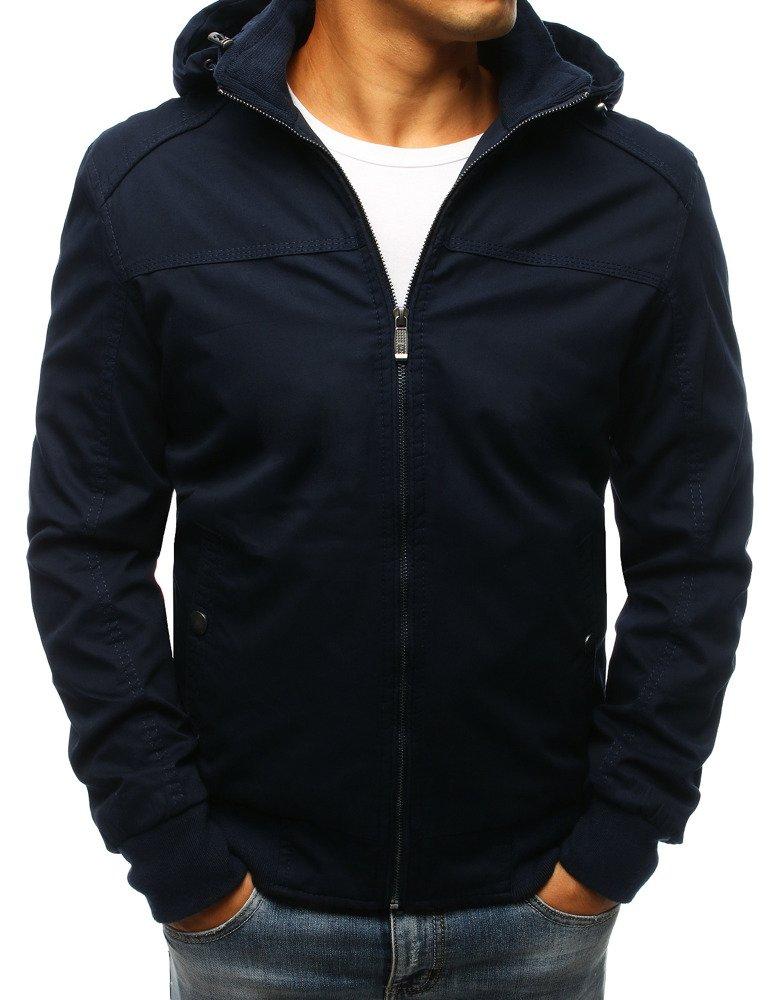 Pánska bunda s kapucňou námornícka modrá