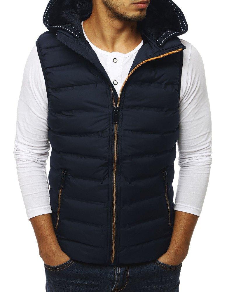 Pánska prešívaná vesta s kapucňou tmavomodrá