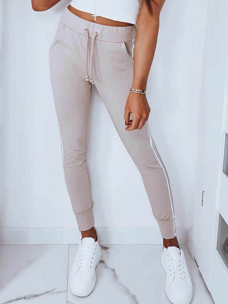Spodnie dresowe damskie BELLA beżowe UY0231