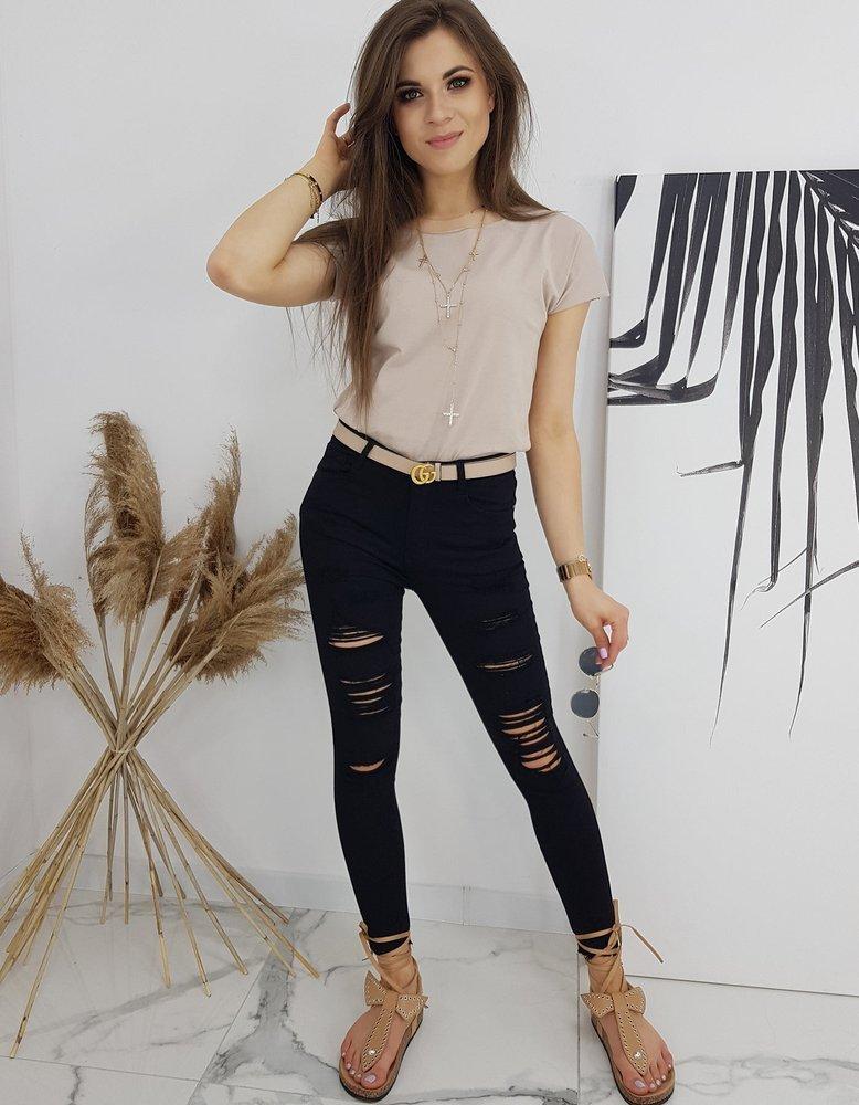Spodnie damskie jeansowe Skinny Fit SIMONTE czarne UY0543