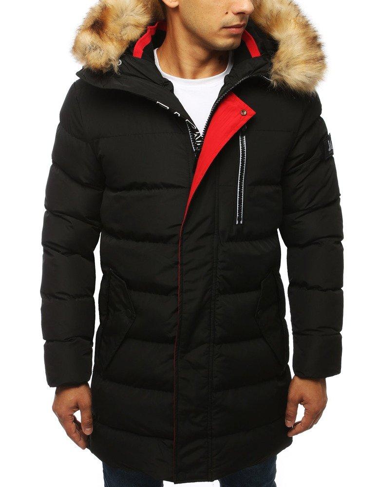 Pánska prešívaná zimná bunda s kapucňou čierna