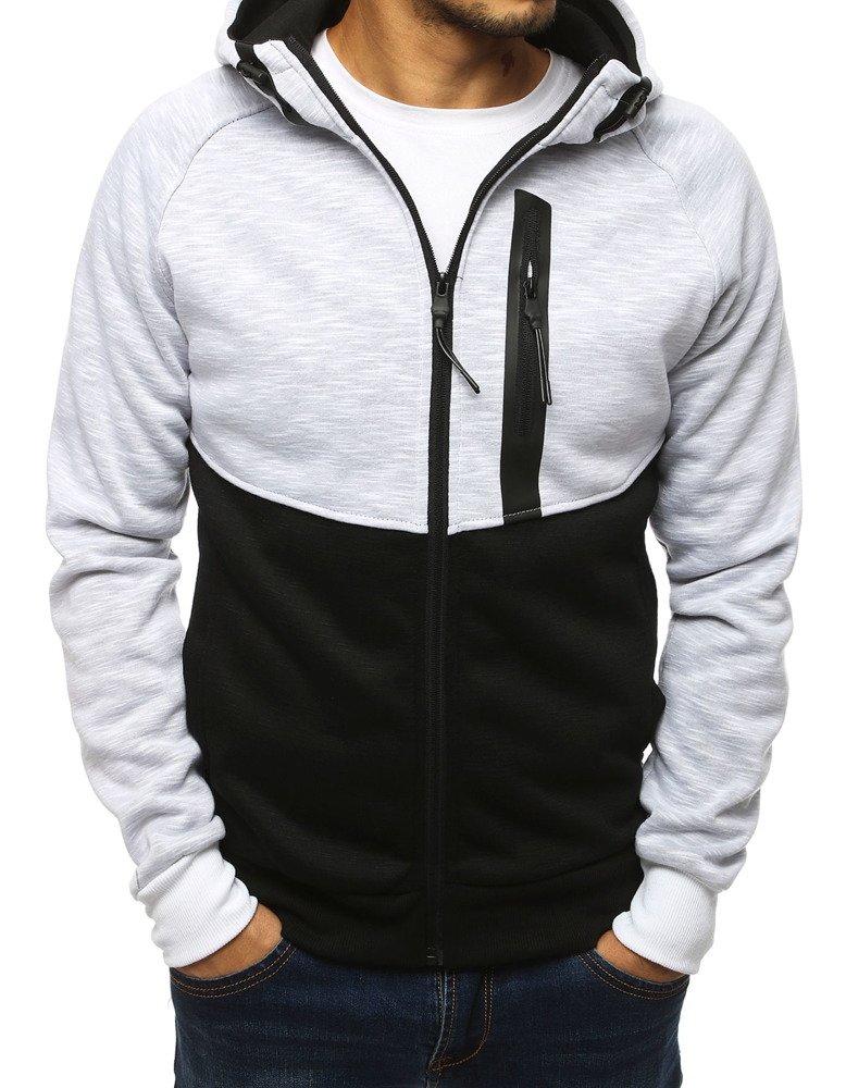 Bluza męska rozpinana z kapturem biała BX4138