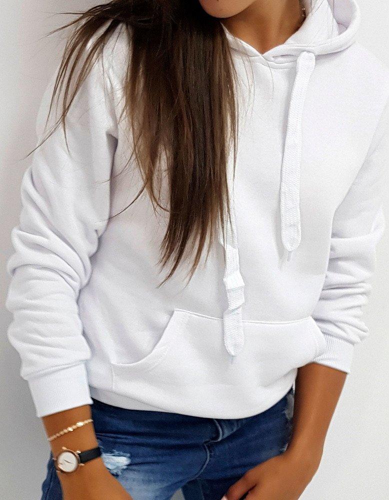 Bluza damska BASIC z kapturem biała BY0156