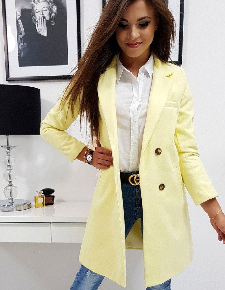Dámsky kabát pastelovo žltý dvojradové zapínanie