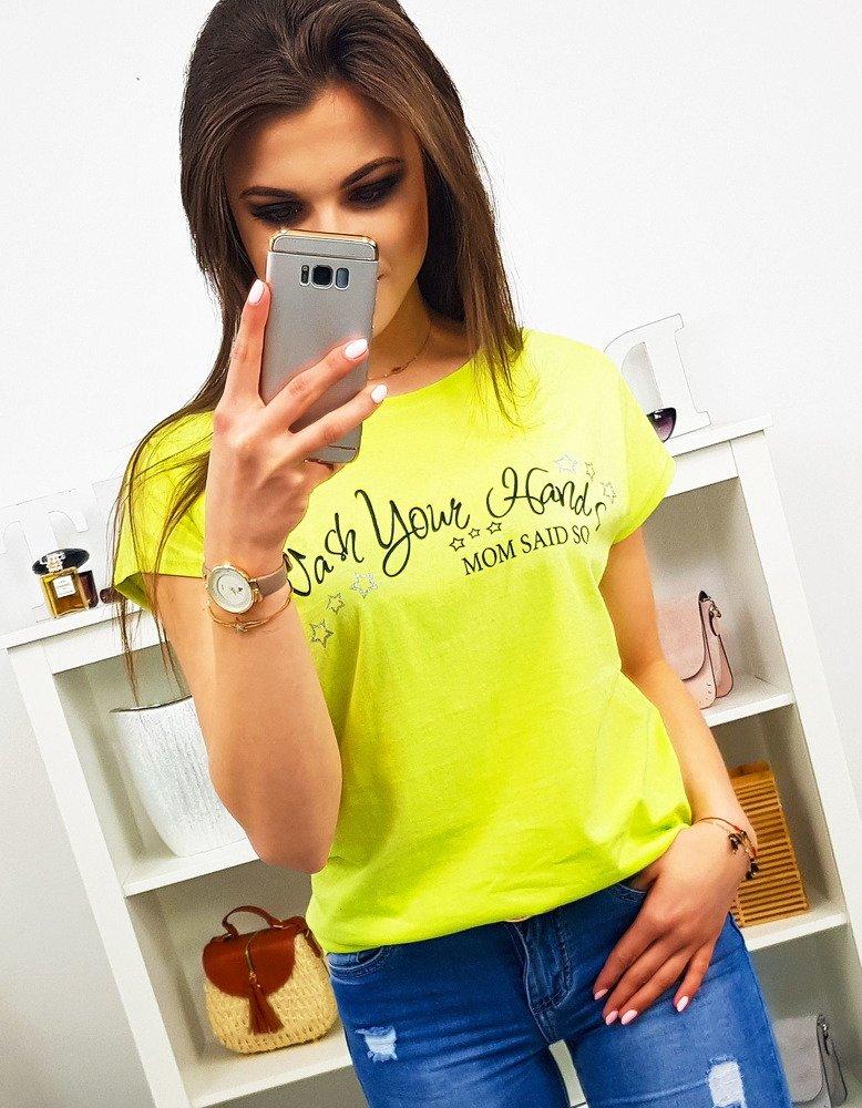 T-shirt damski MOM SAID SO z nadrukiem limonkowy (ry0900)
