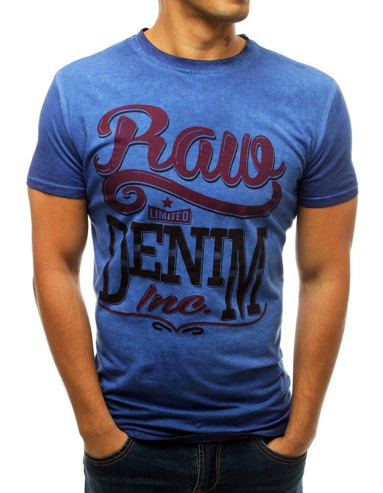 Panské tričko modré s potlačou