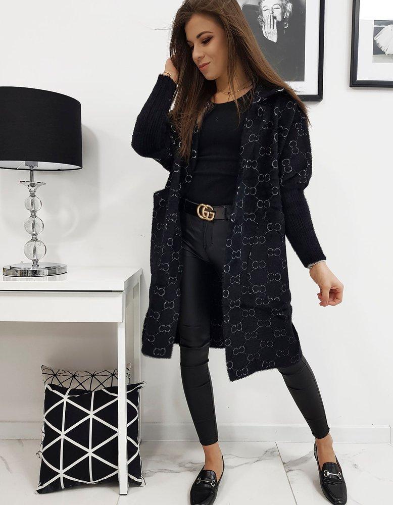 Štýlový čierny dámsky kabát so vzorom ELEGANCE II (ny0300)