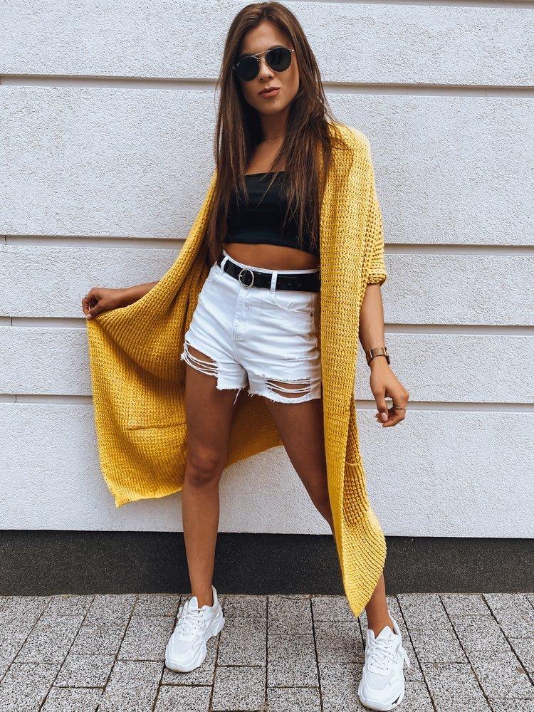 Sweter damski kardigan MOLLER żółty MY0765