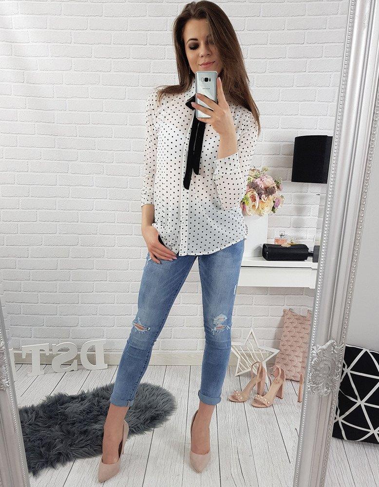 Koszula damska Naomi biała w groszki (dy0131)