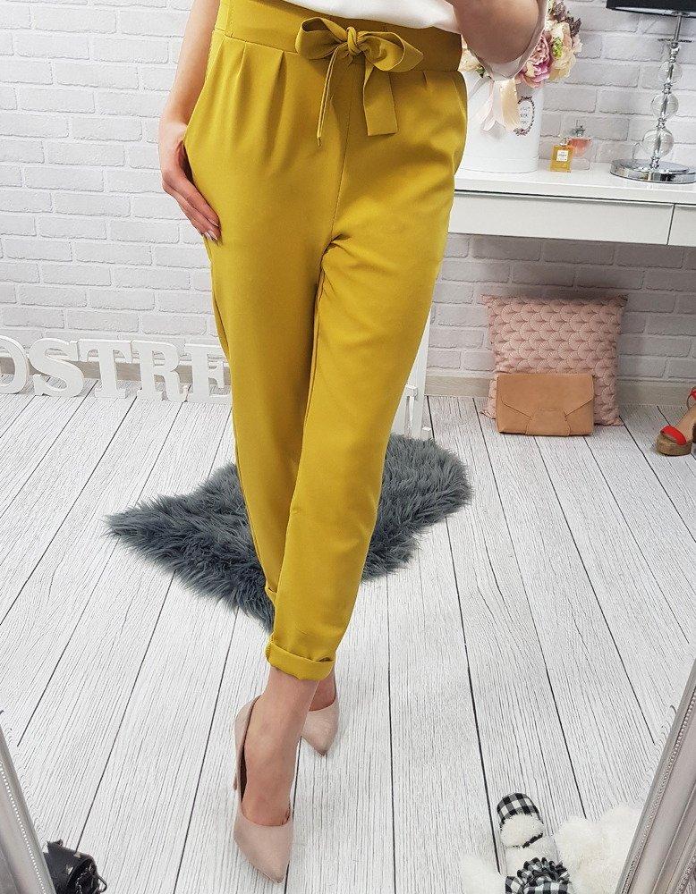 Spodnie damskie Biker żółte (uy0069)