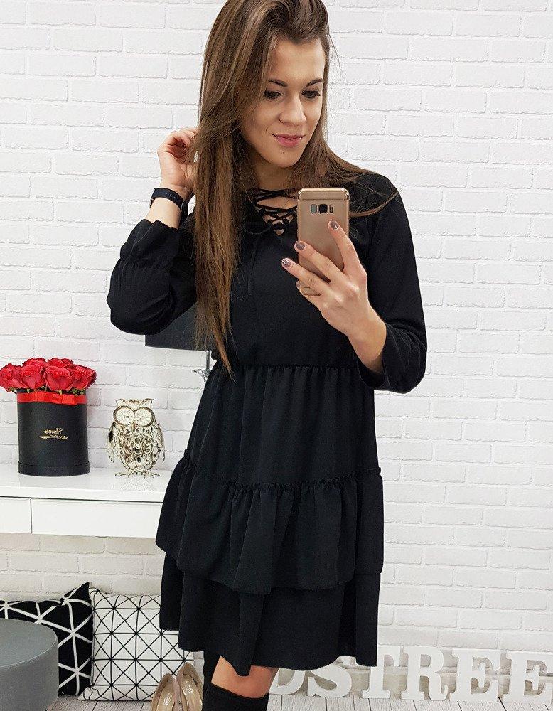 Dámske čierne šaty (ey0609)