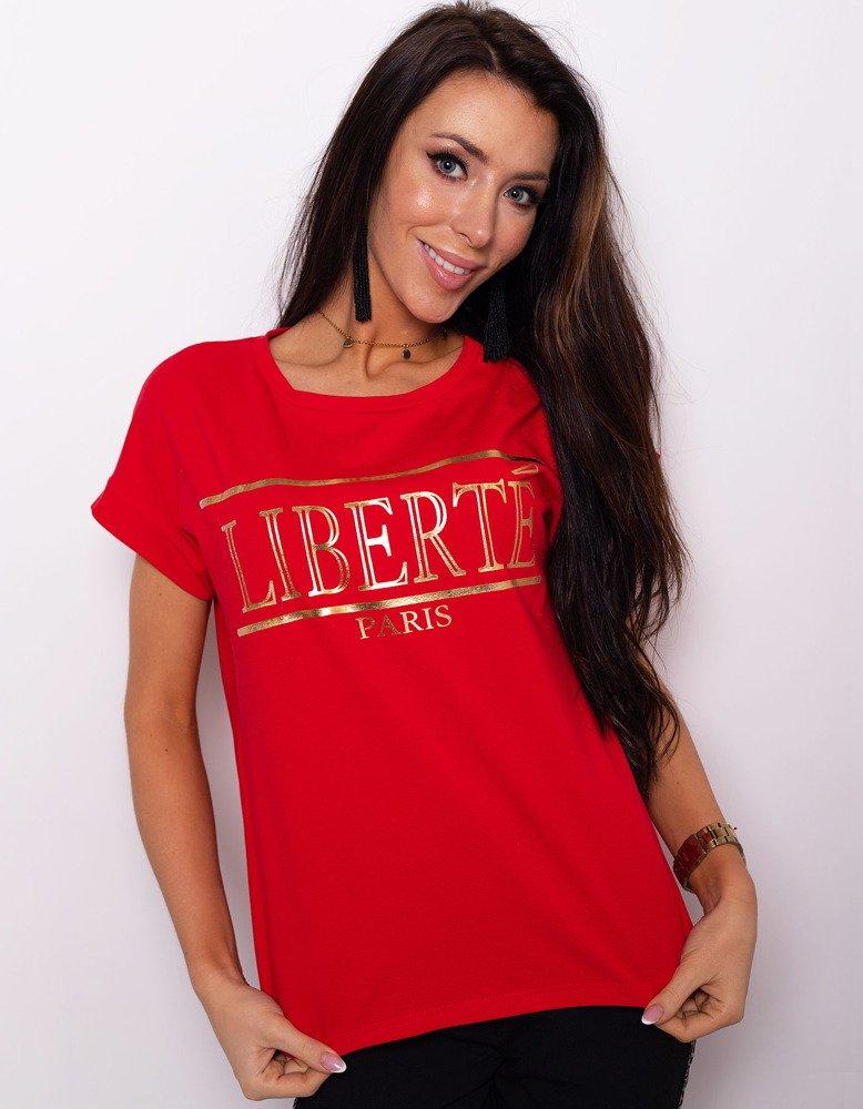 T-shirt damski LIBERTE PREMIUM czerwony (ry0661)