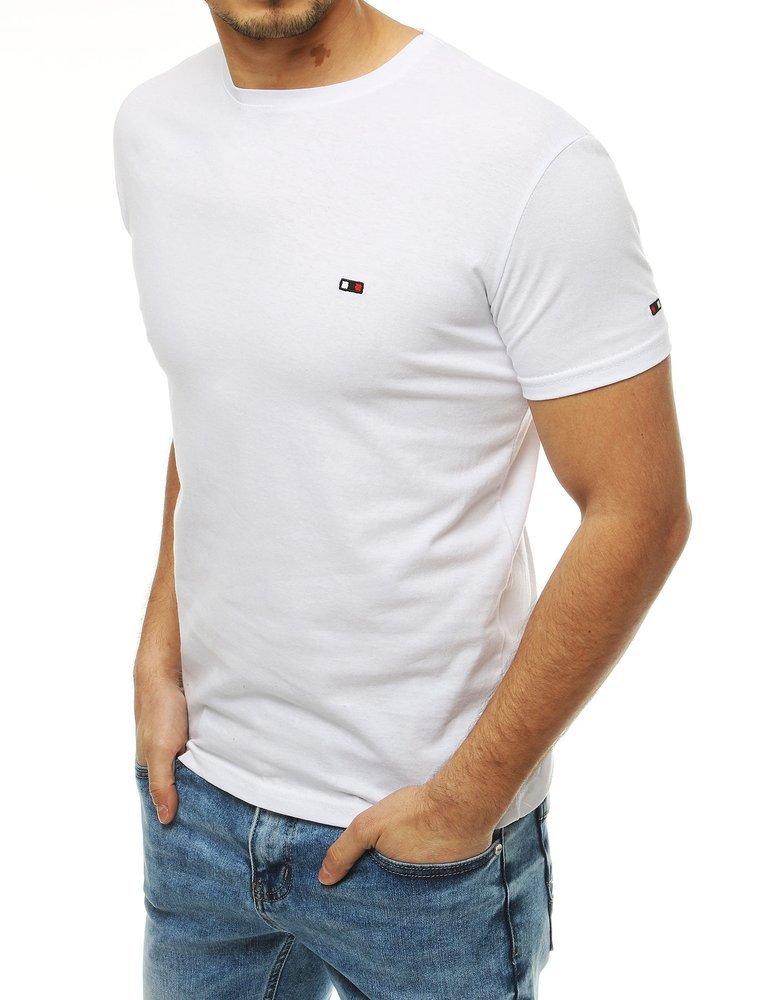 Biele bavlnené tričko s krátkym rukávom RX4127