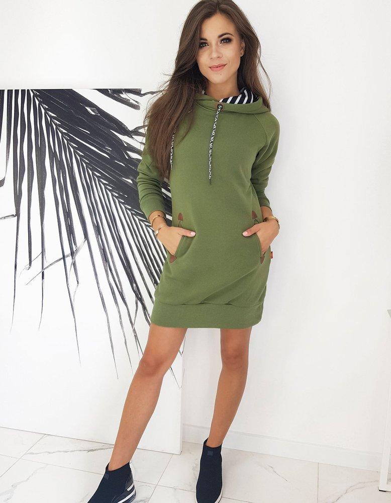 Olivovo-zelené dámske šaty CARMENO EY1324