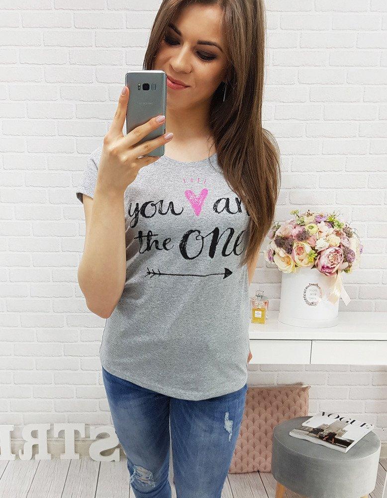 Šedé dámske bavlnené tričko (ry0365)