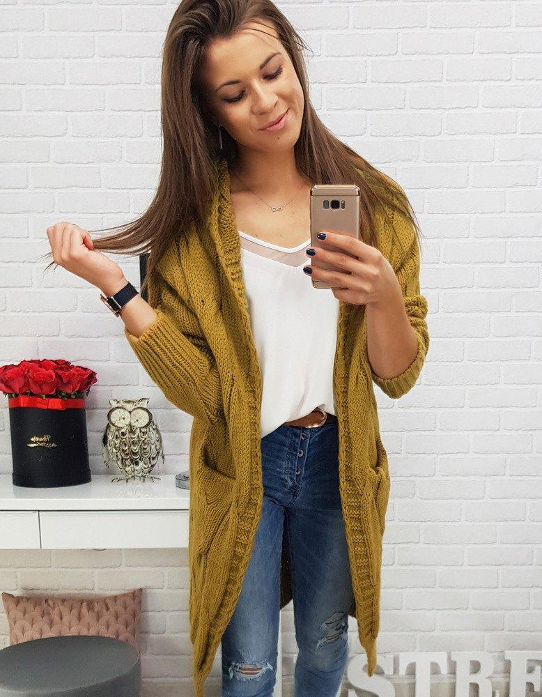 Štýlový dlhý dámsky sveter s kapucňou (my0279)