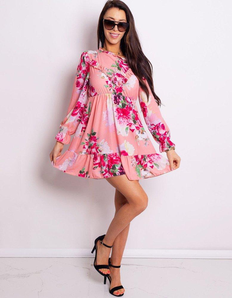Sukienka DE FLOR brzoskwiniowa EY0750