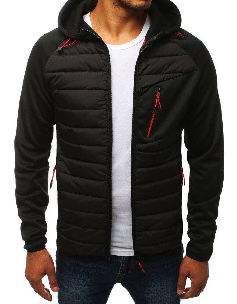 Čierna pánska bunda s kapucňou (tx2802)