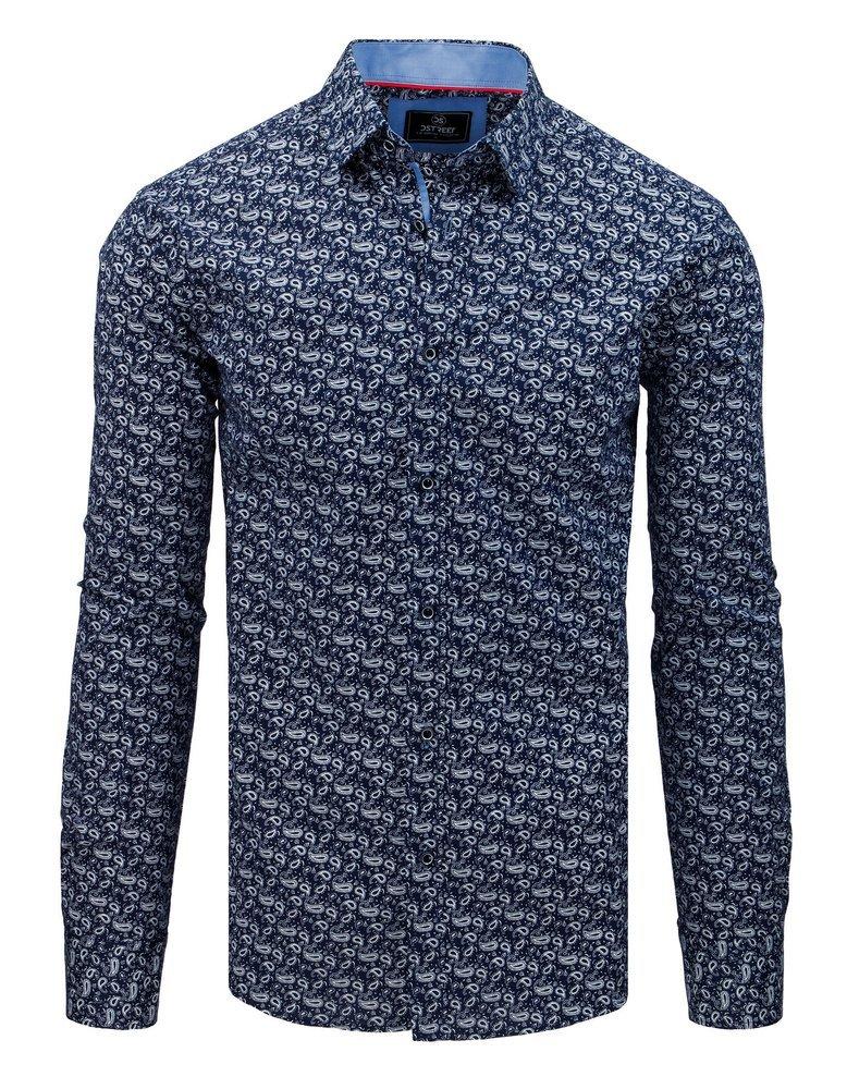 Košeľa so vzorom námornícka modrá