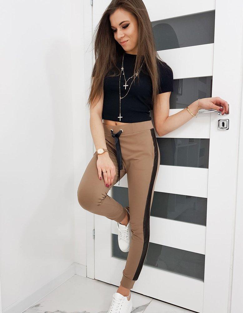 Spodnie dresowe damskie LORENA kamelowe UY0263