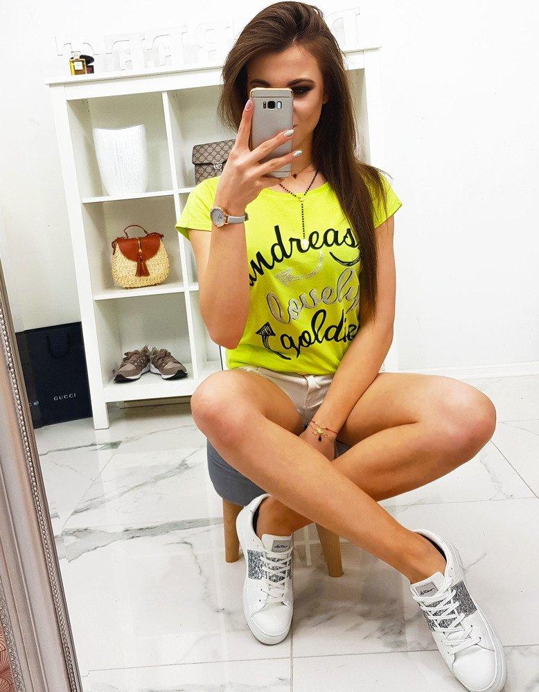 T-shirt damski LOVELY z nadrukiem limonkowy RY0849