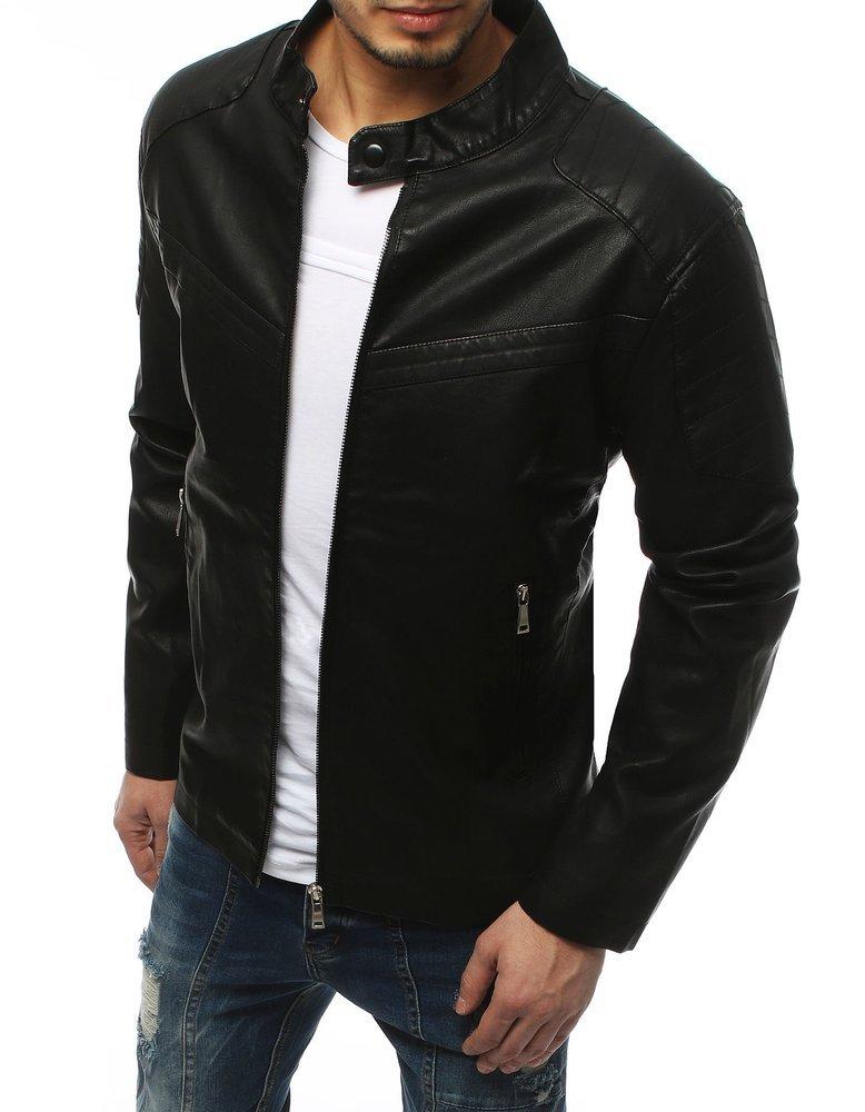Pánska čierna koženková bunda TX3157