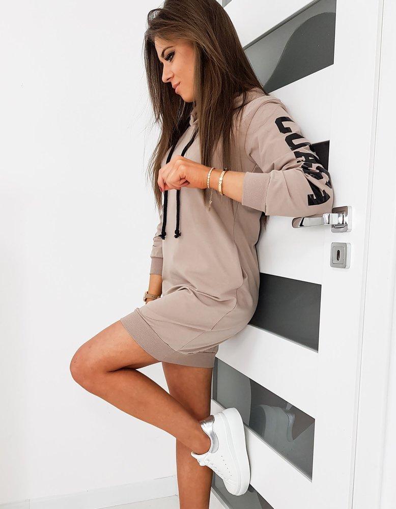 Bluza damska OVER LONG beżowa BY0263