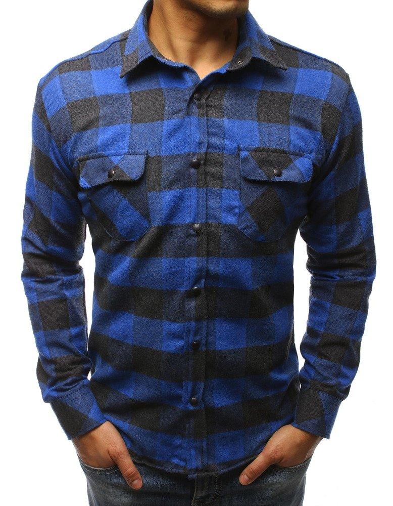 16153d760bd3 Pánska košeľa modro čierna