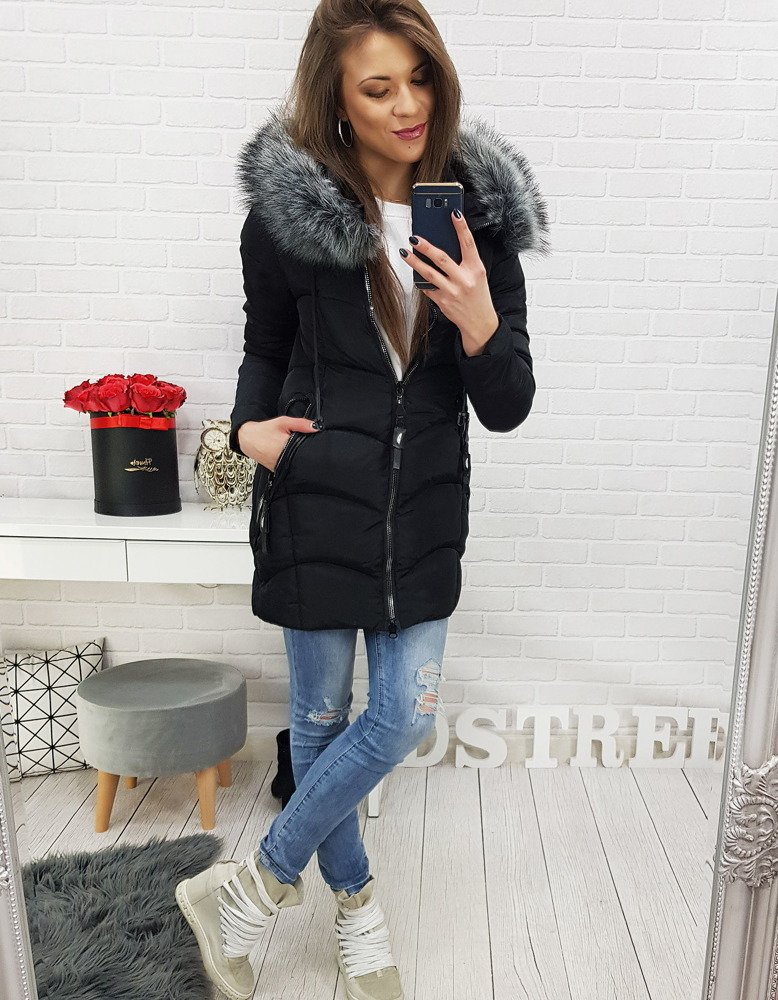 Čierna dámska zimná bunda s kapucňou (ty0518)