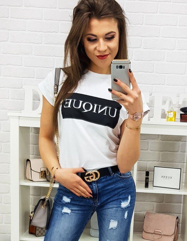 T-shirt damski UNIQUE PREMIUM biały (ry0700)