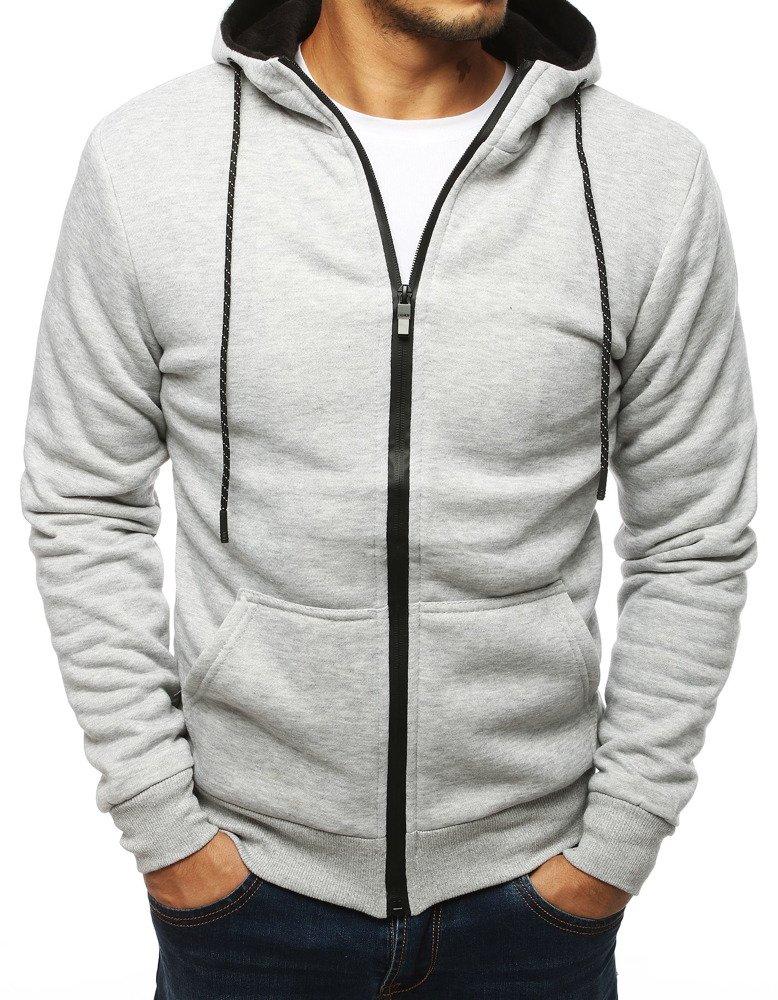 Bluza męska rozpinana z kapturem jasnoszara BX4125