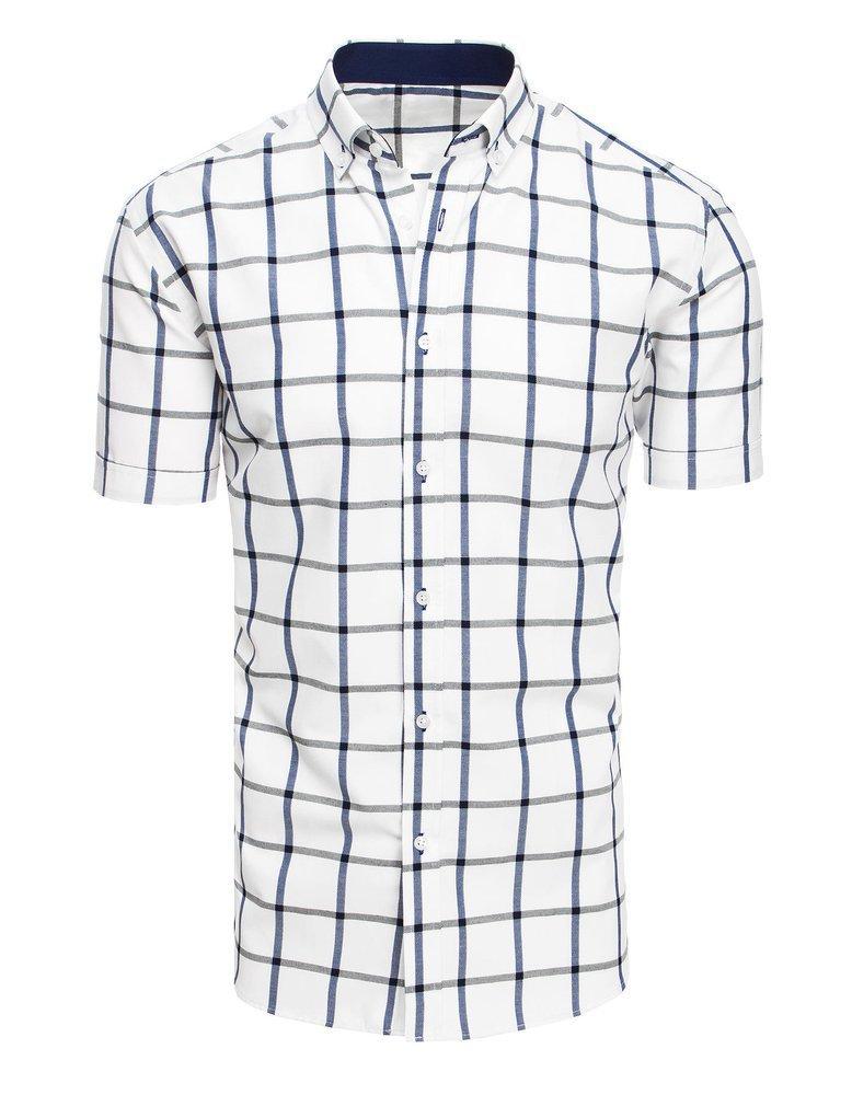 Biała koszula męska w kratę z krótkim rękawem KX0922 Dstreet