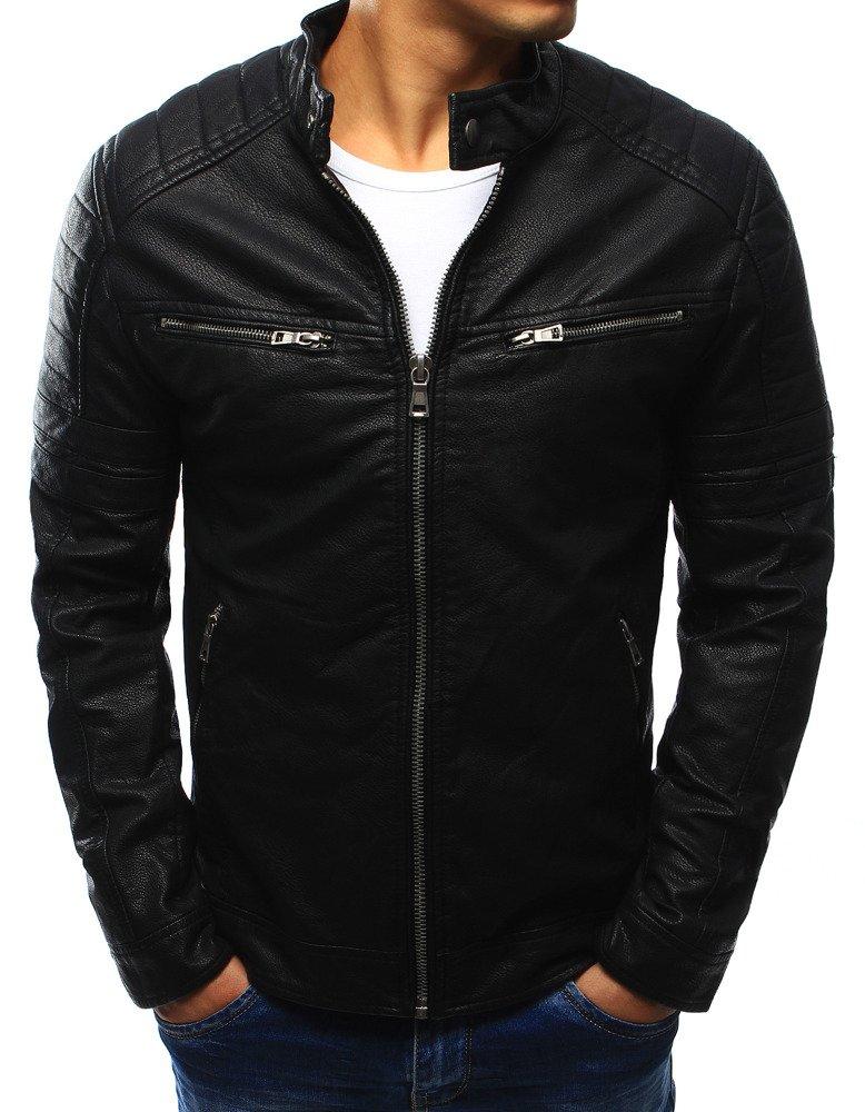 Čierna koženková pánska bunda (tx2251)