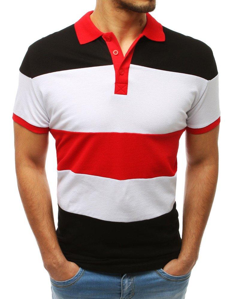 Koszulka polo męska czarno-czerwona PX0168