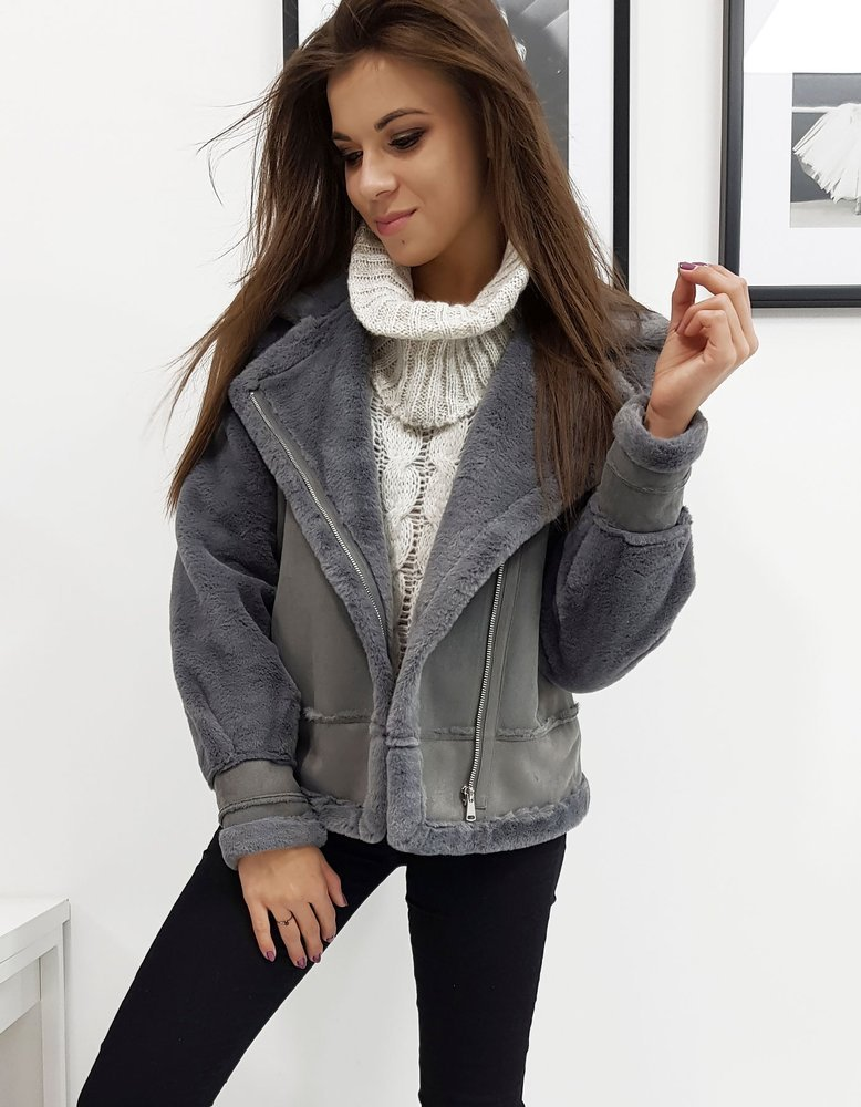 Dámska zimná bunda tmavo šedá