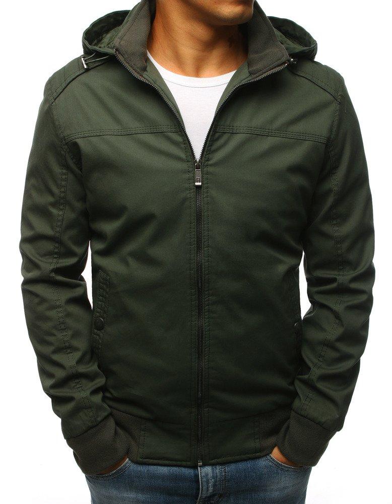 Pánska bunda s kapucňou zelená