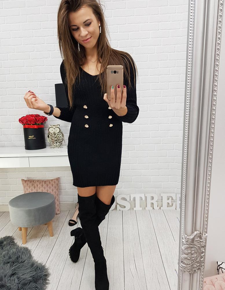 Dámske čierne šaty (ey0544)