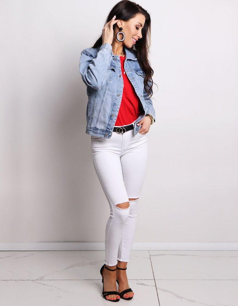 Spodnie damskie jeansowe KISS WHITE białe UY0166