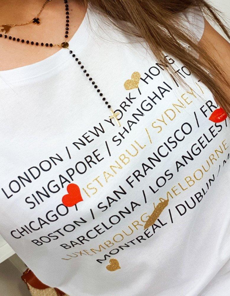 T-shirt damski CITY z nadrukiem biały RY0881