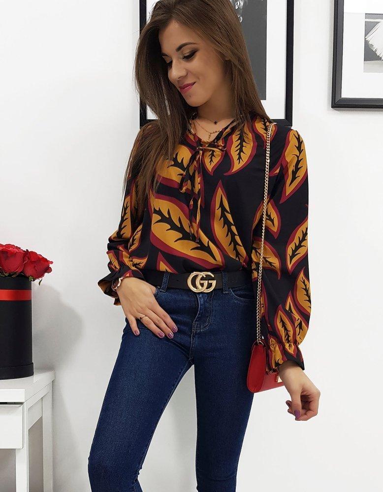 Koszula damska LEAVES czarna RY0505