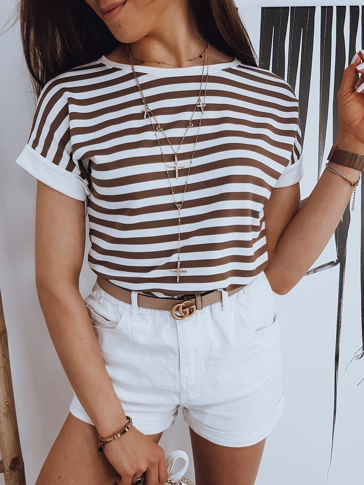 T-shirt damski PORTOS brązowy RY1550