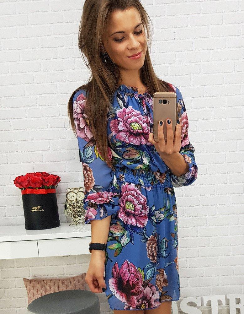 Trendové modré dámske šaty (ey0470)