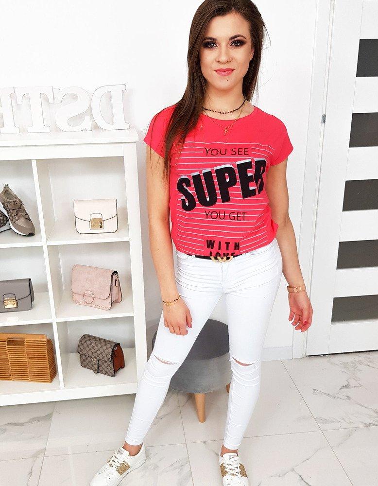 T-shirt damski z nadrukiem malinowy RY0991