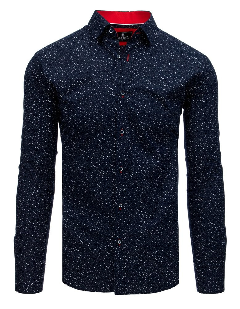 Pánska košeľa s dlhým rukávom / tmavo modrá